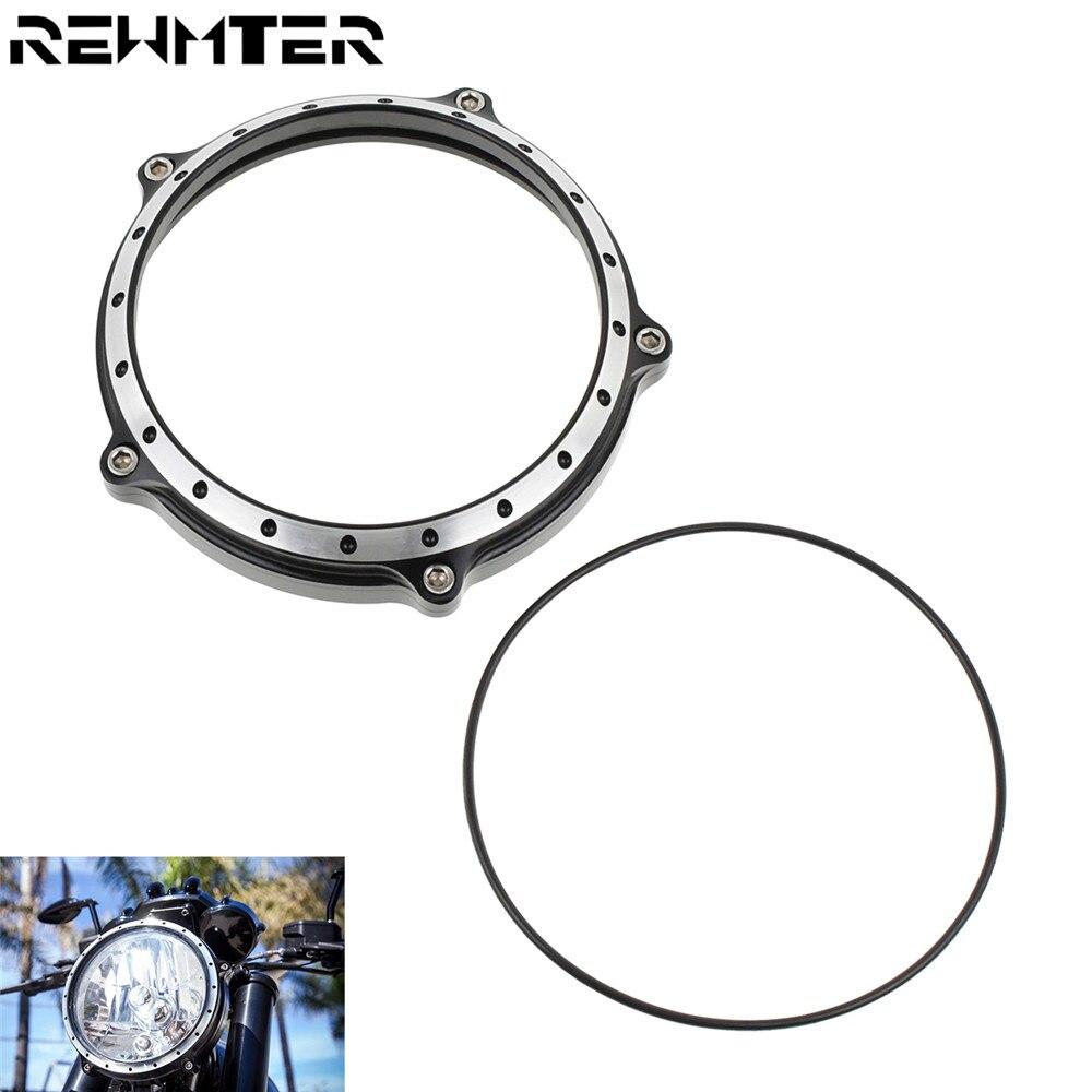 """Motocicleta 5,75 """"Faro lámpara bisel anillo embellecedor de faro delantero palanquilla de aluminio para Harley Sportster XL883 XL1200 2004-2014"""
