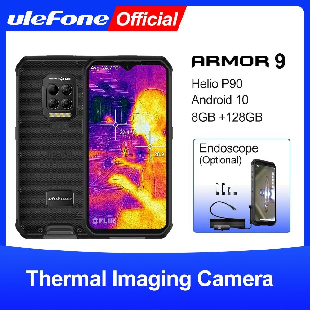 Ulefone درع 9 هاتف محمول وعر كاميرا تصوير حراري FLIR®هاتف ذكي Helio P90 يعمل بنظام الأندرويد 10 بسعة 128 جيجابايت بطارية 6600 مللي أمبير/ساعة