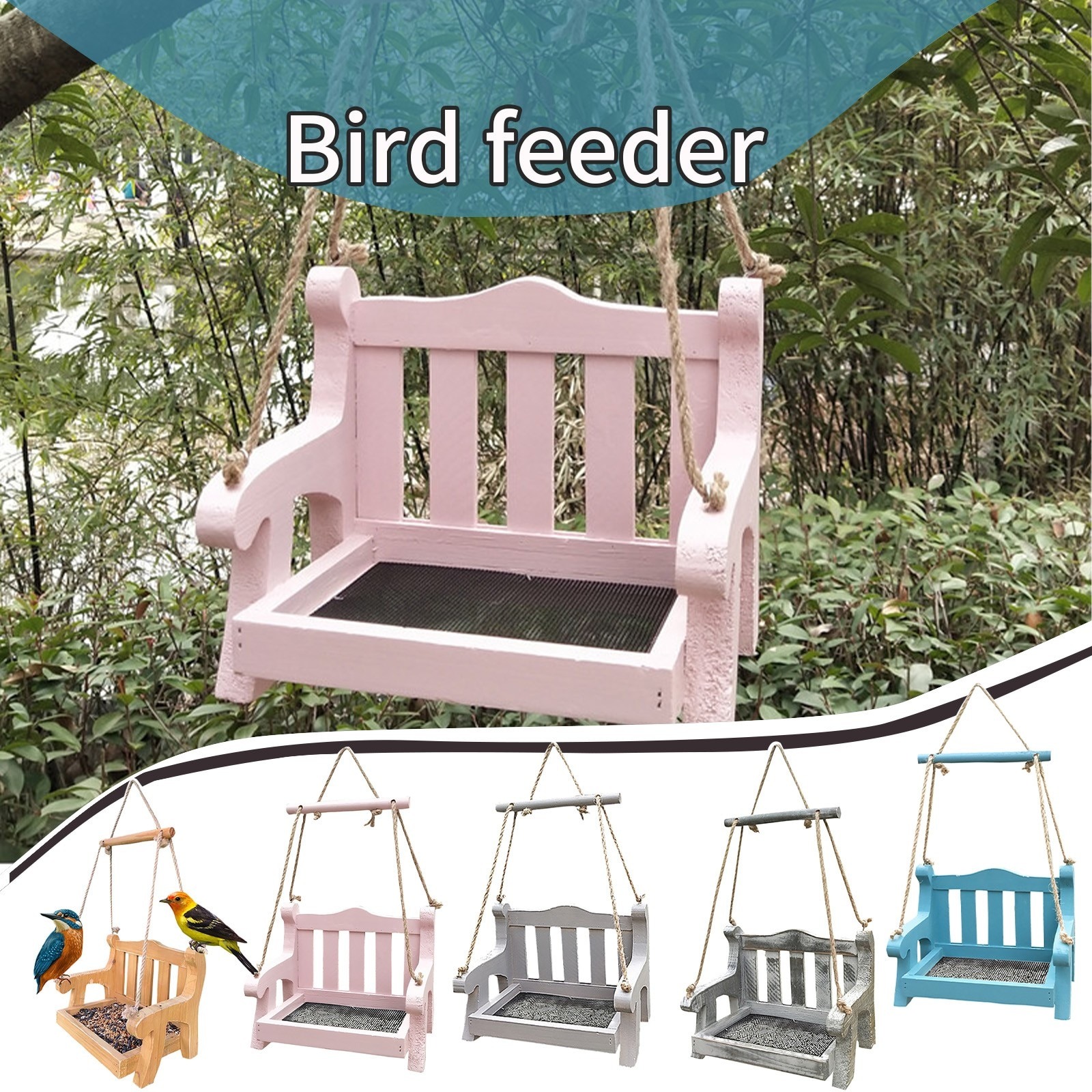Comederos de madera para exteriores, alimentador colgante para mascotas, silla, alimentador, decoración...