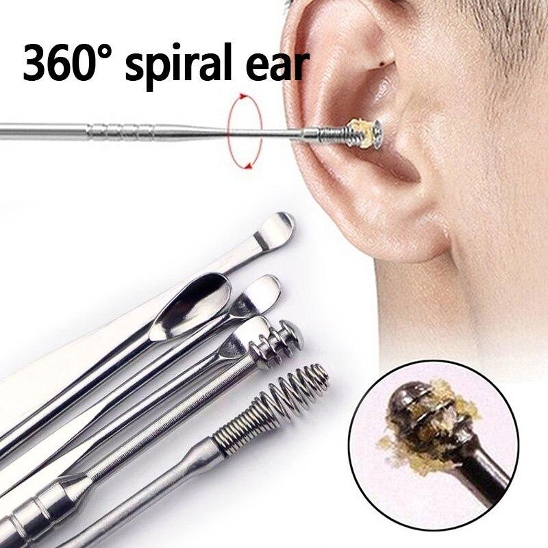 5Pcs/set Ear Wax Pickers Stainless Steel Earpick Wax Remover Curette Ear Pick Cleaner Ear Cleaner Sp