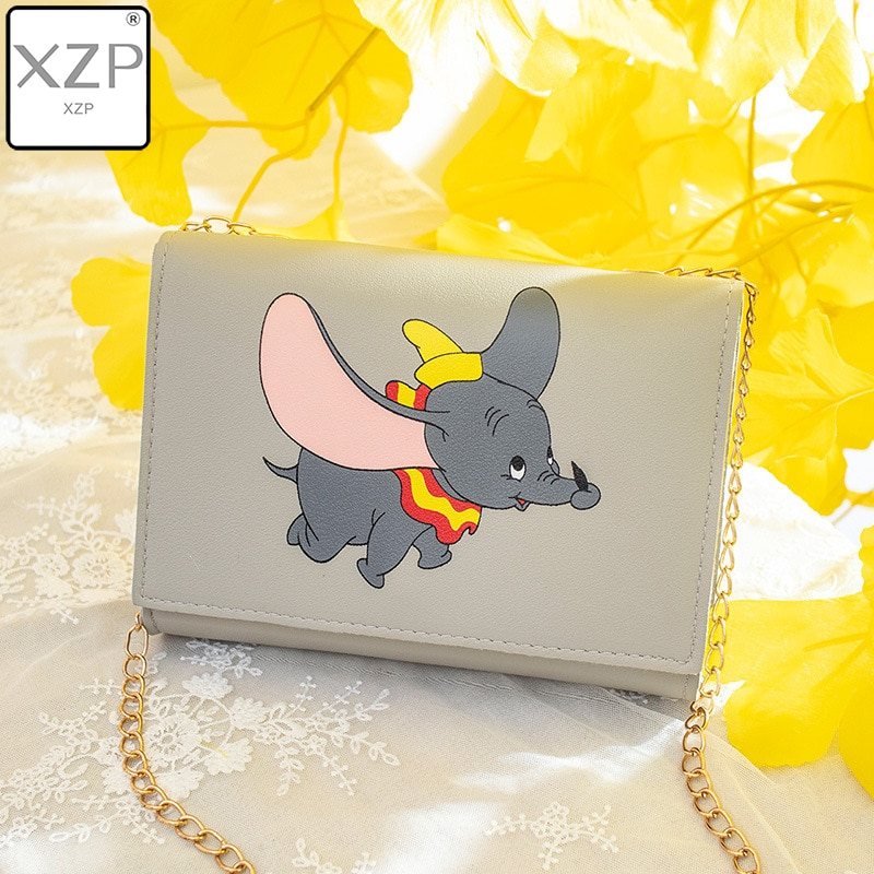 XZP Diisney Dumbo Cartoon Lady Messenger Bag Shoulder PU Women Fashion Handbag Minnie Shopping Bag Gift Mobile Phone Bag Purse