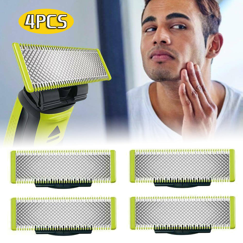 4 Pack Replacement Blade For Philips OneBlade Shavers Safety Stainless Steel Razor Blades Shaving He