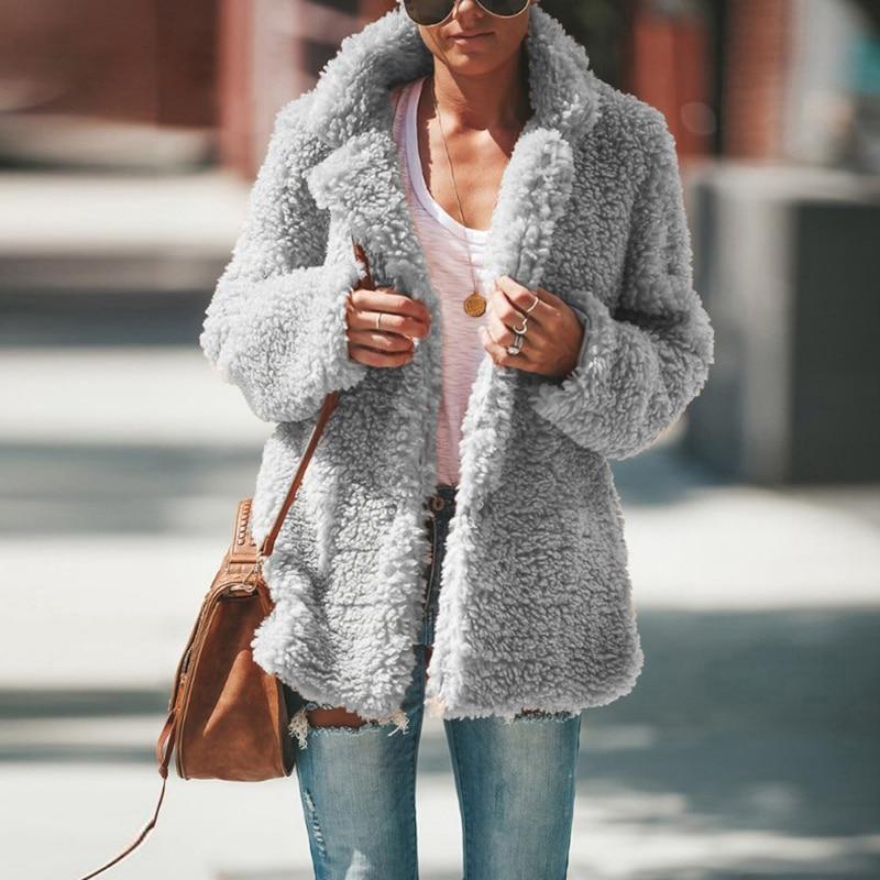 Autumn Faux Fur Coat Women New Autumn Winter Warm Soft Lamb Fur Jacket Female Plush Overcoat Casual Outerwear winter coat women недорого