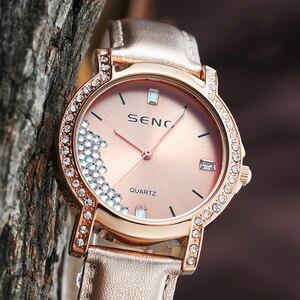 New Luxury ladies quartz rhinestone waterproof watch genuine leather strap watch relojes hombre 2021modernos evening dress clock