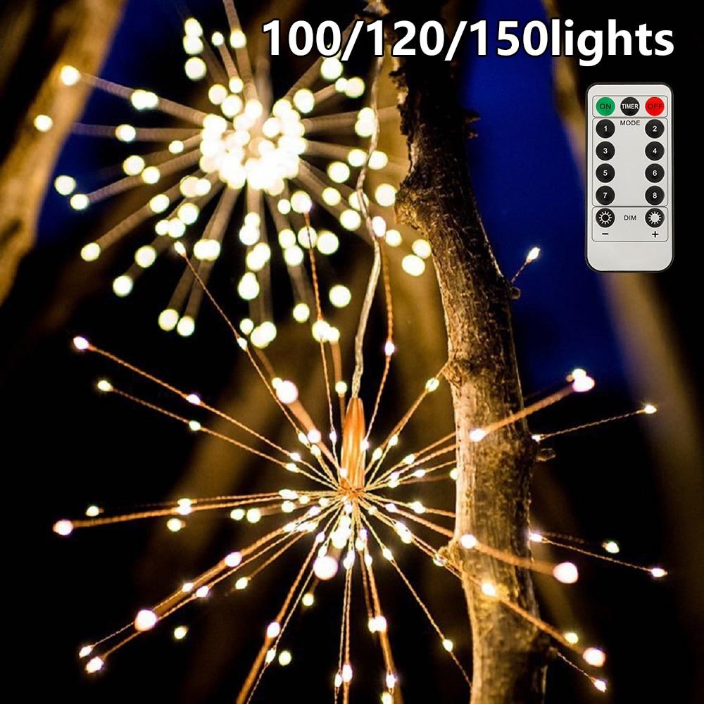 100/120/150 LEDs Festival bola estelar colgante guirnalda de luces al aire libre fuegos artificiales luces de Navidad decoración de fiesta de Navidad lámpara