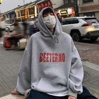 oversized hoodie men women hong kong style ins letter printing hooded sweatshirt autumn loose casual jacket male mens clothing