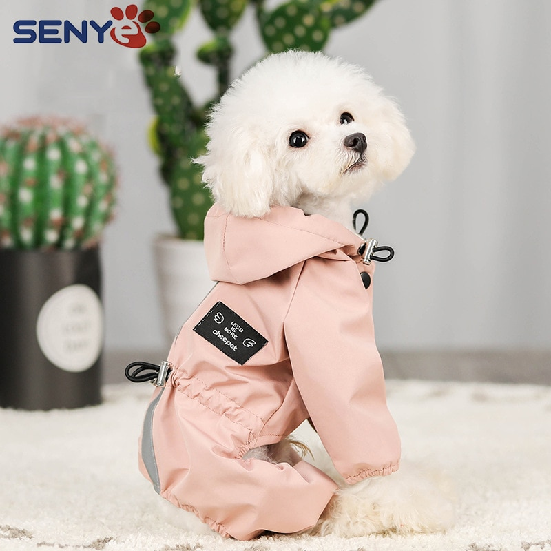 Impermeable Perro Dog Clothes Jacket Waterproof Mesh Breathable Sweat-Absorbent Reflective Dog Rainc