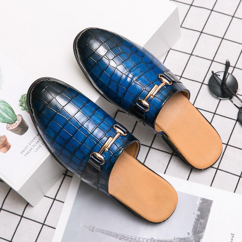 2020 New Loafer Shoe Men Half Drag Flats Shoes For Mens Red Black Pu Leather Men Shoe Brand Fashion Half slippers Man Size 38-45