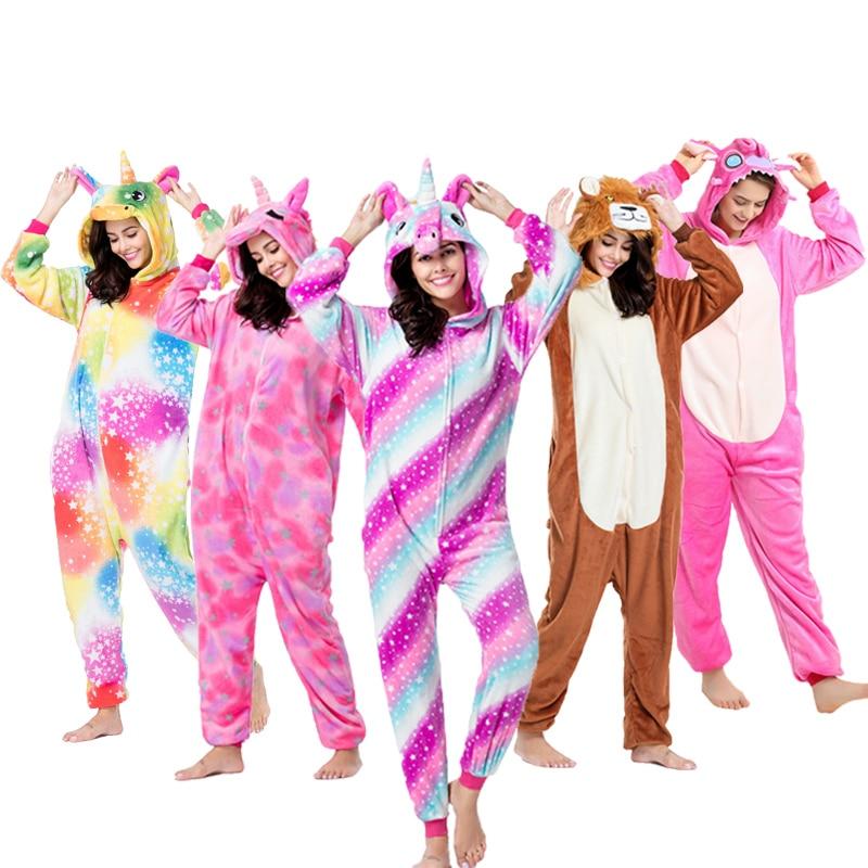 Kigurumi, pijama para adultos, ropa de dormir con capucha de invierno para animales, unicornio, Totoro, panda, pokemon, puntada, onesies de gato para adultos, mujeres y hombres