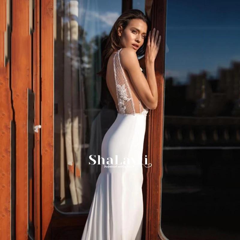 Wedding dress Lace wedding dress chiffon v-neck sequins luxury sleeveless bridal dresses exquisite lace pattern plus size