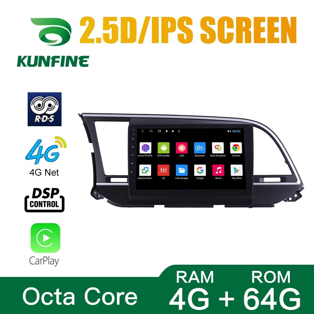 Octa Core 1024*600 Android 10.0 Car DVD GPS Navigation Player Deckless Car Stereo For Hyundai Elantra 2016-2018 Radio Headunit