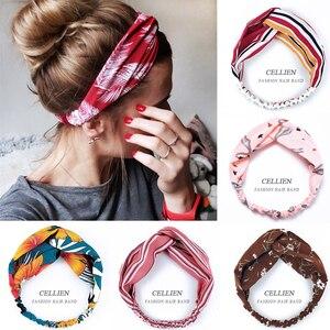 Женская повязка на голову, винтажная повязка на голову с принтом, аксессуар для волос, DS02, 2020