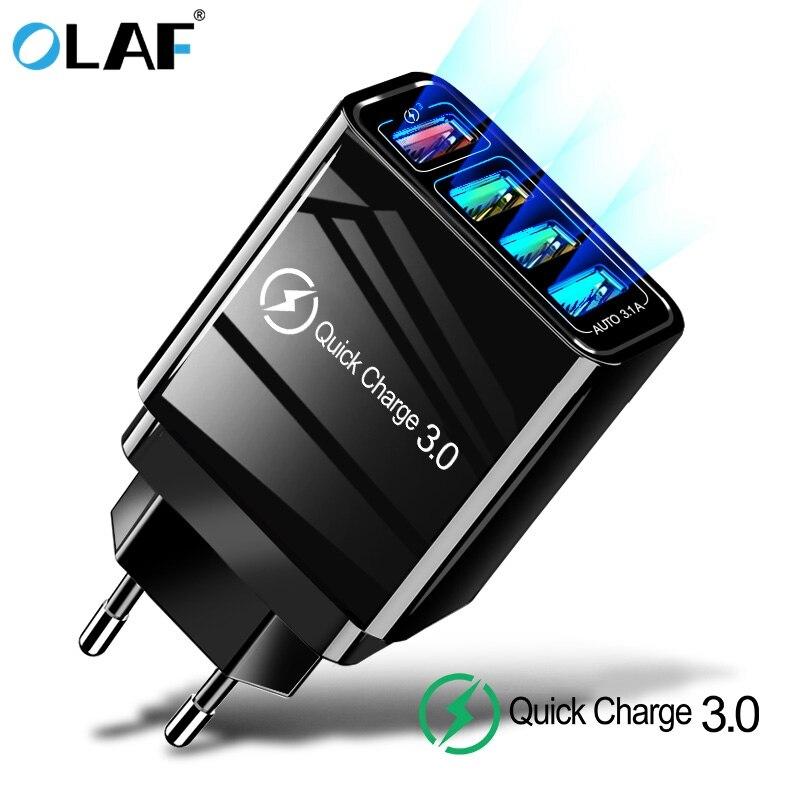 Olaf 4 USB Ladegerät Schnell Ladung 3,0 Schnelle Lade Wand Adapter Für iphone 7 8 Samsung S9 Tragbare Handy ladegerät EU UNS UK
