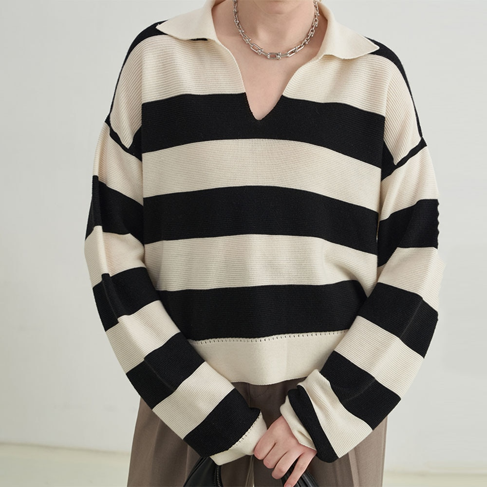 2021 Women New Sweater Stripe V-neck Long Sleeve Japanese Style Autumn Winter Fashion Temperament Casual Loose Pullover