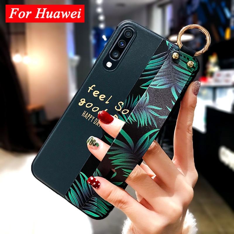 Mate 20 Pro Wrist Strap Case for Huawei P20 P10 P30 Lite Pro Mate 20 30 Lite P Smart Z Funda Fashion Art Leaf Flower TPU Cover
