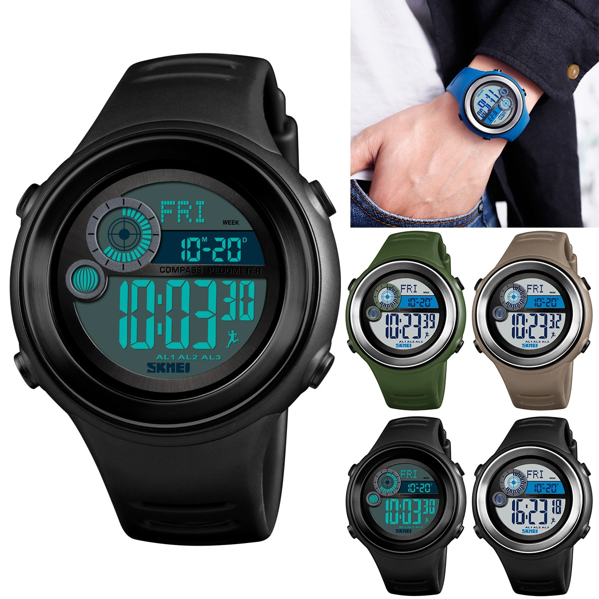 Waterproof Sports Digital Watch EL Luminous Backlight Wristwatch Date & Week Display 12/24 Hour Compass Pedometer Calories
