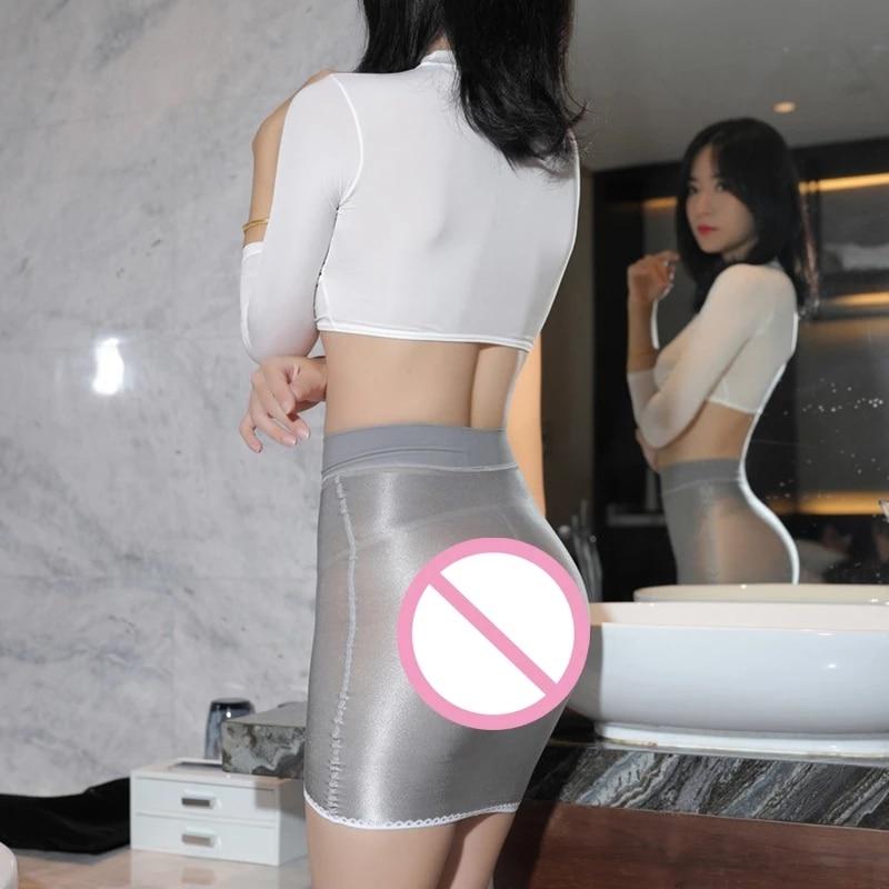 Привлекательная блестящая облегающая мини-юбка-карандаш OL, 70D, прозрачная гладкая прозрачная микро мини-юбка, Женская юбка, уличная одежда, ...