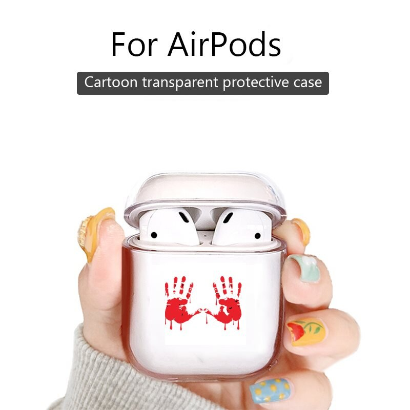 Auriculares inalámbricos Bluetooth, funda bonita para Apple AirPods 1/2 pro, estuche de carga par de cubiertas de Zombie Bloody Hand Print Design