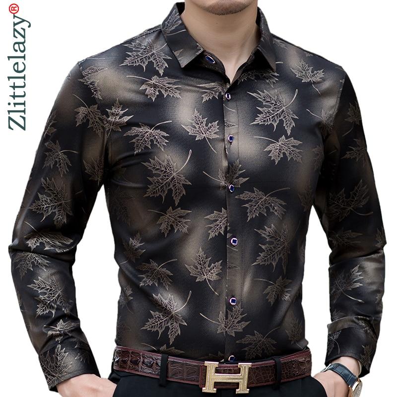 2021 New Social Long Sleeve Maple Leaf Designer Shirts Men Slim Fit Vintage Fashions Men's Shirt Man Dress Jersey Clothing 36565