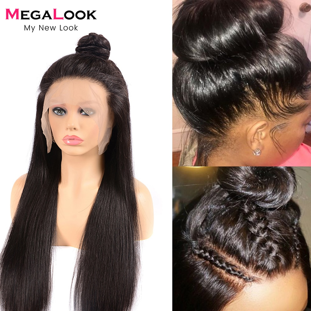 Full Lace Human Hair Wigs Glueless Remy Straight Human Hair Wigs Pre Plucked With Baby Hair Braided Full Lace Wig 180 Density