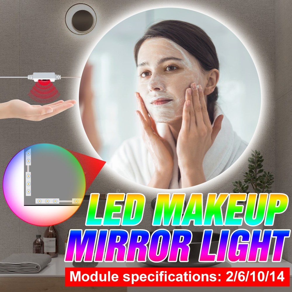 Makeup Lamp LED 5V 2 6 10 14 Modules Cosmetic Lights Hand Sweep Sensor Wall Lamp Dimmable Vanity Mirror Light Bathroom Beauty