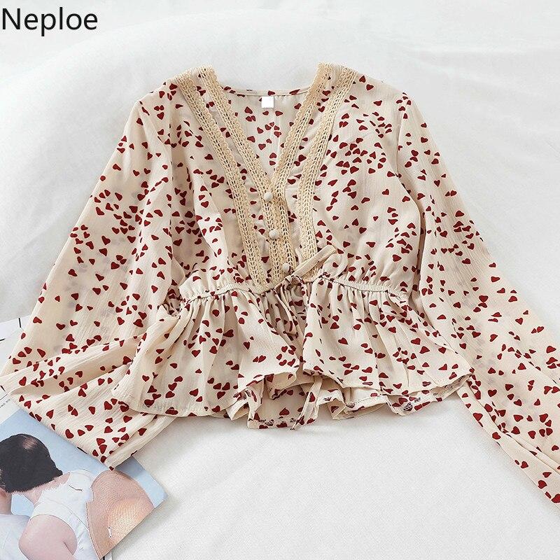 Neploe Frühling Sommer 2021 Frauen Tops Süße Mädchen V-ausschnitt Puff Sleeve Schärpen Blusa Koreanische Herz Druck Schlanke Taille Bluse 43266
