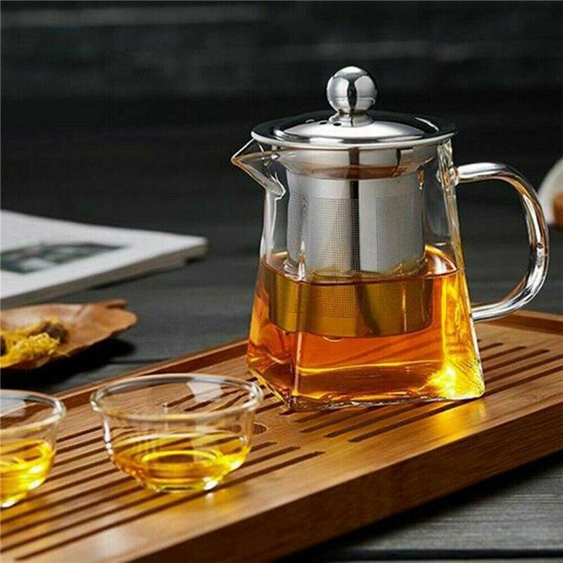 350-750 مللي واضح مقاومة للحرارة واضح أبريق شاي زجاجي إبريق ث إينفوسير القهوة الشاي ورقة العشبية أصيص زرع إبريق الشاي الحليب عصير الحاويات