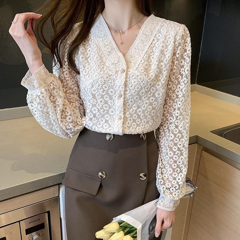 Long Sleeve Top Women Shirts Blouses V Neck Lantern Shirt Spring Womens Tops and