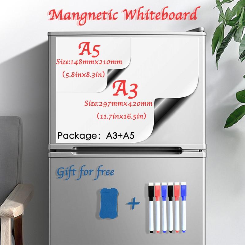 Мягкие наклейки на холодильник, Размер A3 + A5, магнитная белая доска для детей, сухой ластик, белая доска, школьная доска для заметок, доска для...