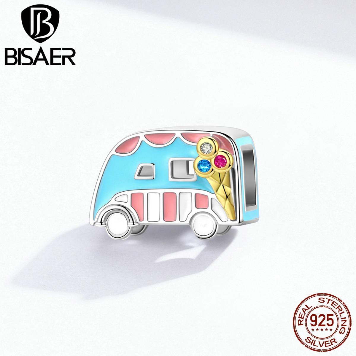 Ice-cream Van cuentas BISAER 925 esterlina esmalte color plata encantos de coche autobús para joyería de plata 925 de EFC163