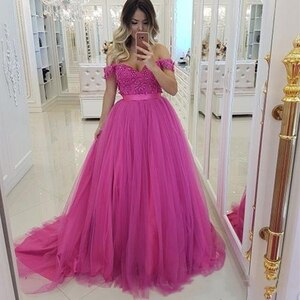 HotPink Fushcia Wedding Dresses Pearls Top Tulle A Line Off the Shouder Colorful Bridal Gowns 2021 Spring vestido de noiva