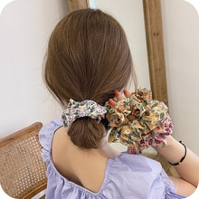 Trending Girl Floral Hair Band Simple Large Intestine Ring Ins Vintage Hair Rope Cute Hair Accessori