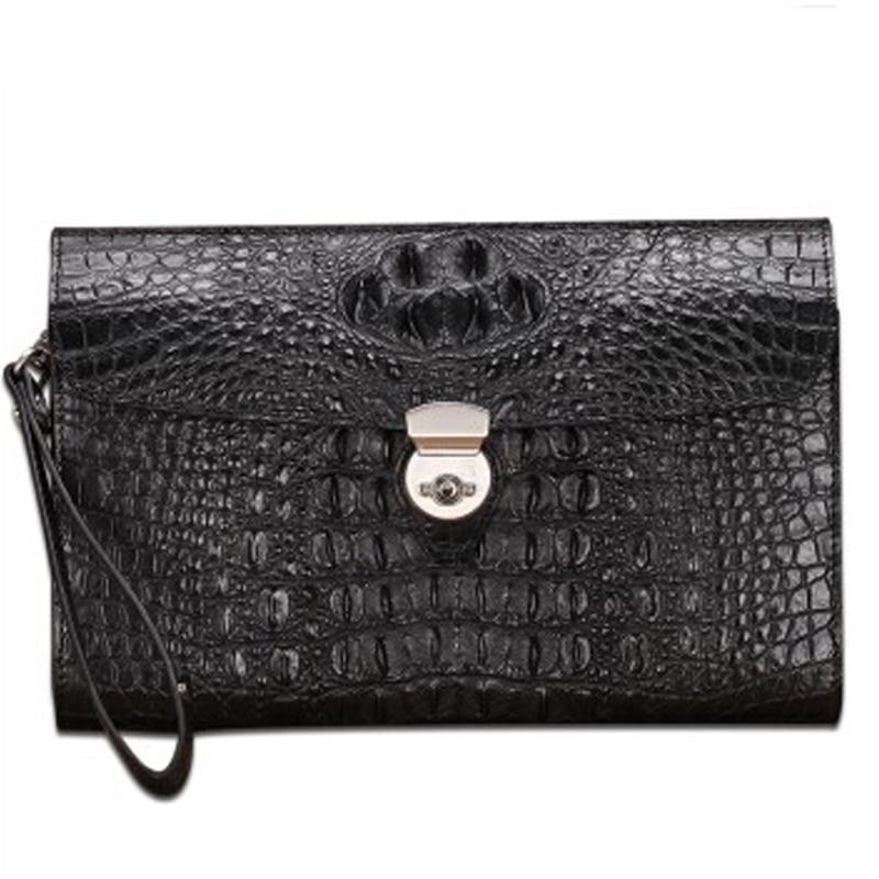 baosidu new men crocodile leather handbag man envelope bag large capacity men hand bag business male clutch bag black