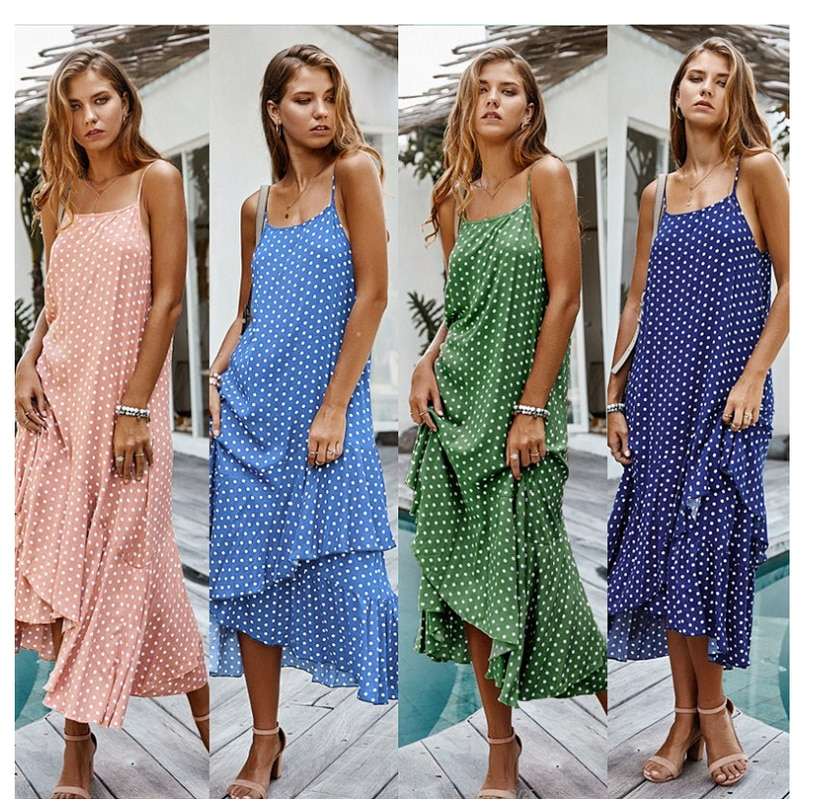 2021 Summer New Sling Polka Dot Maternity Dress Bohemian Lotus Leaf Holiday Style Ladies Clothes  PW06