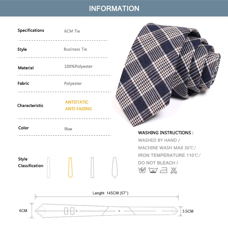 Brand New Men's Nary Blue 6CM Tie Classic Plaid Ties for Men Business Suit Work Neck Tie High Quality Fashion Formal Necktie