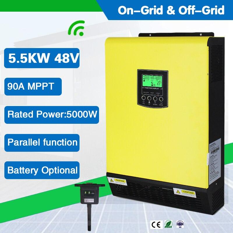 خامل شمسي يعمل بموجات جيبية نقية هجينة بقدرة 5500 وات و48vdc مع متحكم بشاحن PV 450Vdc 90A MPPT يعمل بدون بطارية