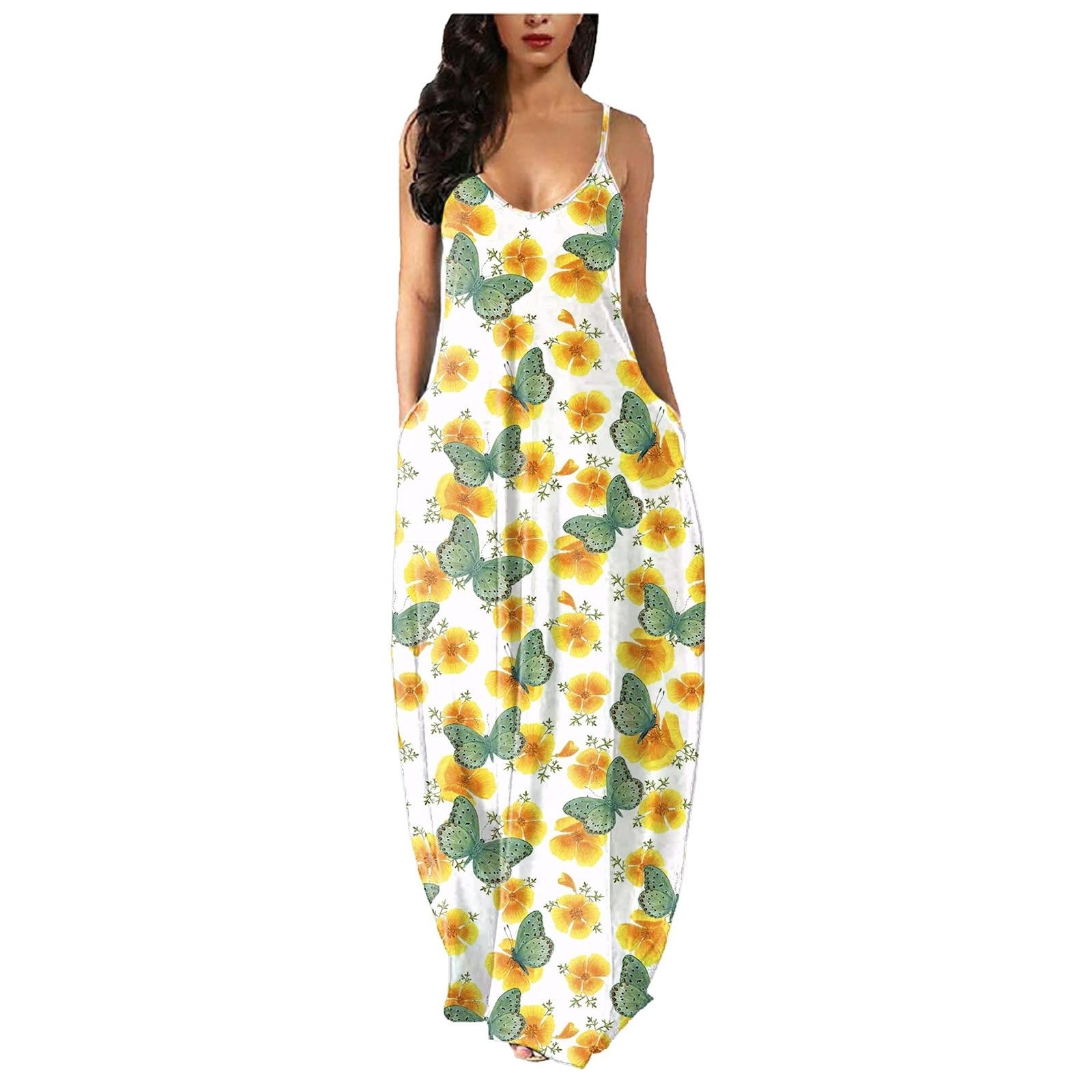 2021 summer new large women's sexy V-neck pocket strap print dress