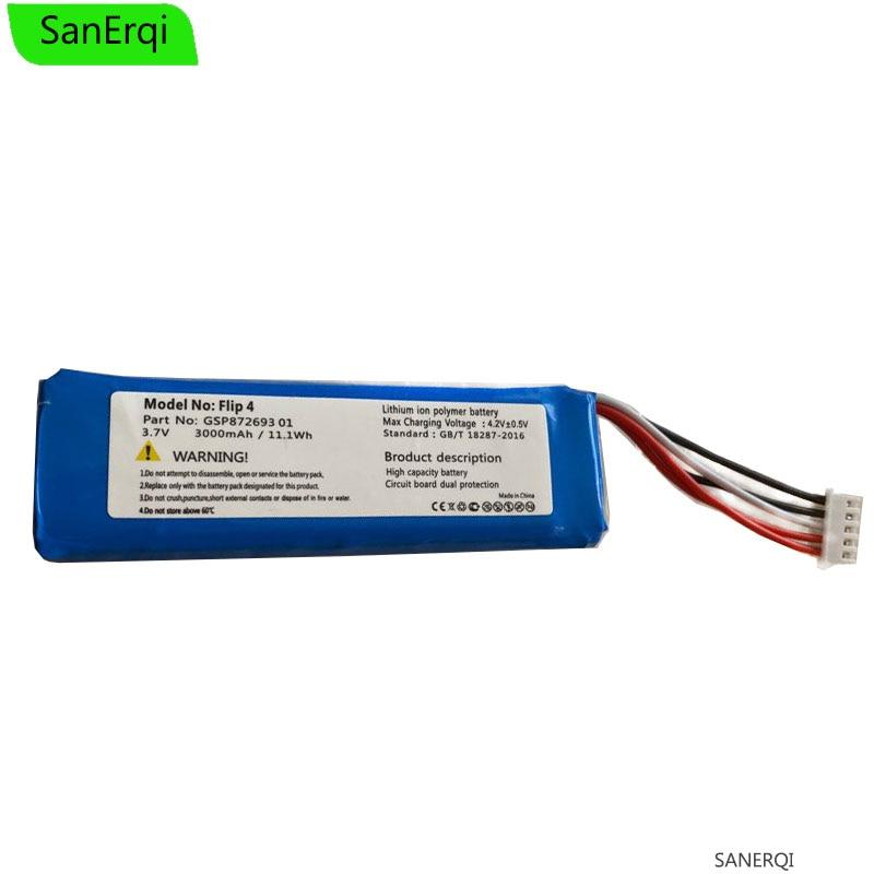 Substituição gsp872693 01 3.7v 3000mah bateria para j b l aleta 4/flip 4 edição especial bateria