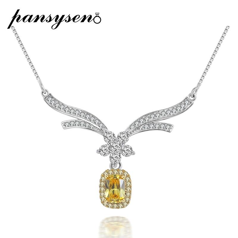 PANSYSEN, collar de lujo para novia, plata maciza, joyería 925, colgante de zafiro Esmeralda citrino, collares para mujeres, regalos de aniversario