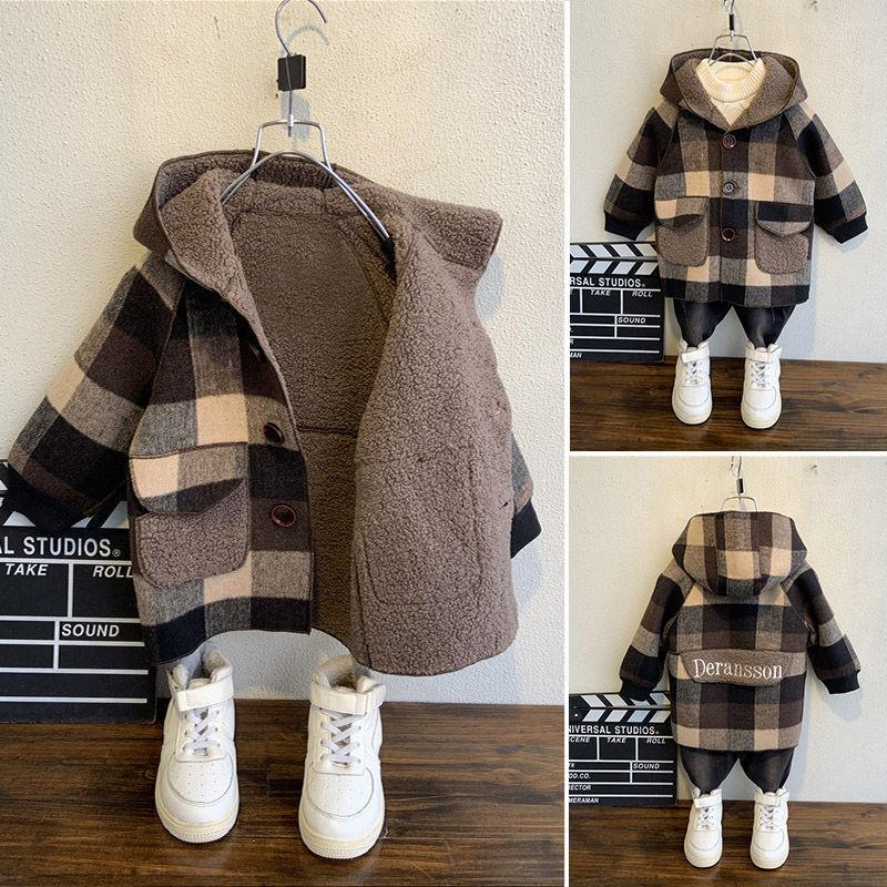 2-9Years одежда для детей возрастом Шерстяное пальто для мальчиков на осень и зиму, с капюшоном и бархатной подкладкой для мальчиков Непродувае...