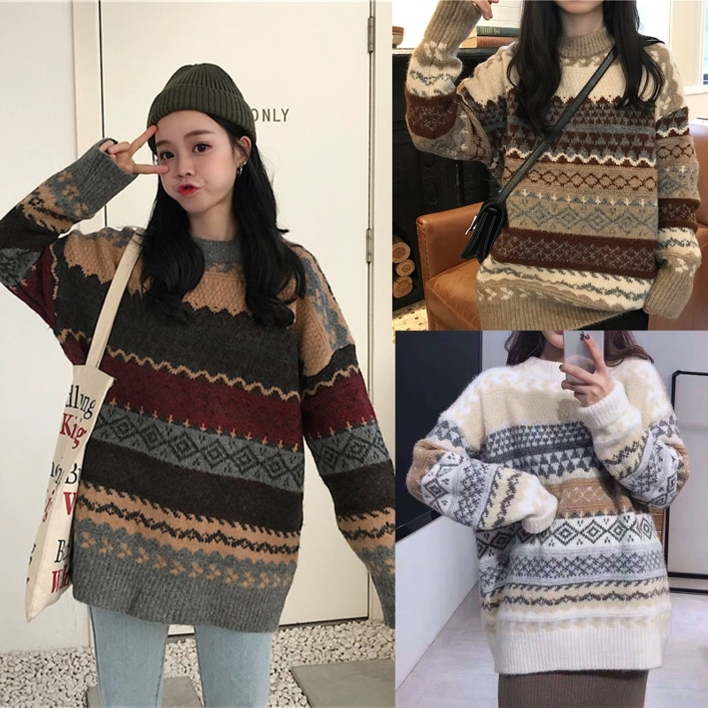 Women Long Sleeves Half Turtleneck Knitted Sweater Korean Jacquard Pullover enlarge