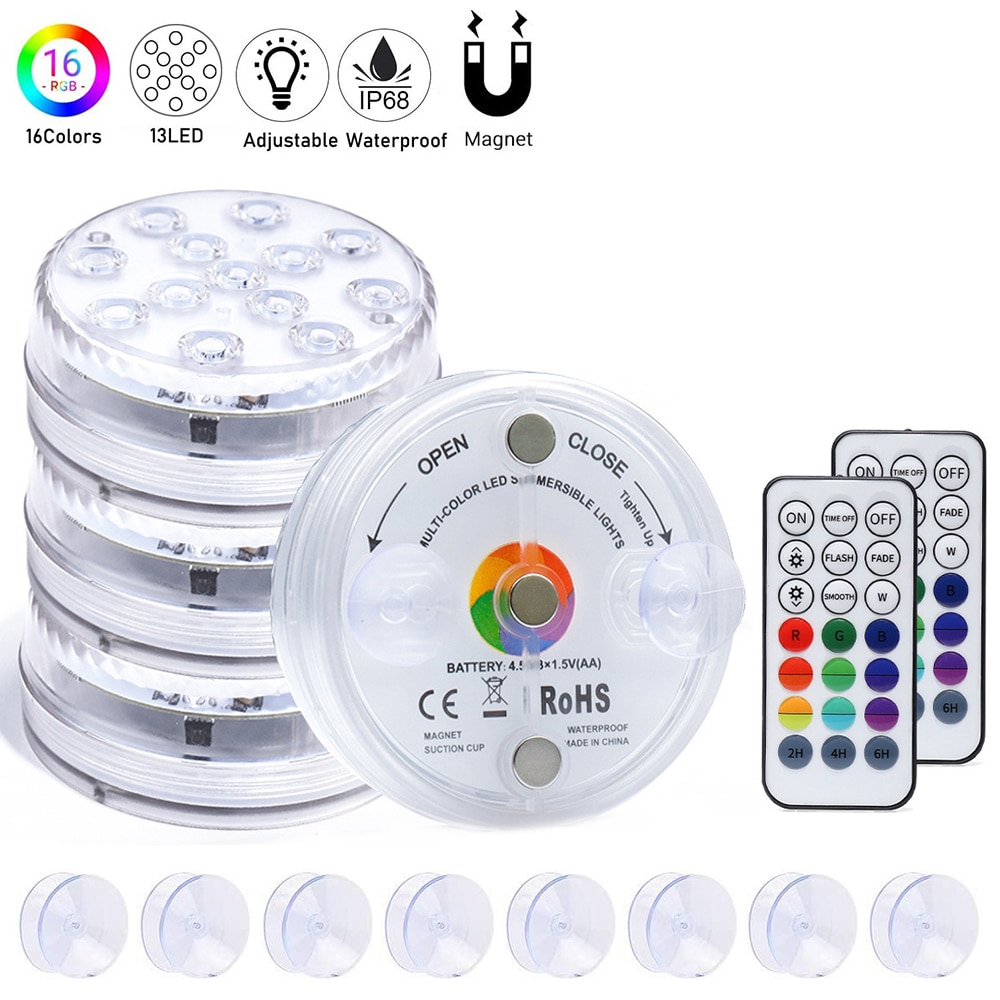 high brightness rgb led underwater light lamp ip68 waterproof swimming pool pond lighting color changing 3000k 6000k 8pcs lot 13 LED RGB Submersible Light with Suction Cups and Magnets IP68 Waterproof Underwater Night Lamp Fountain Swimming Pool Light