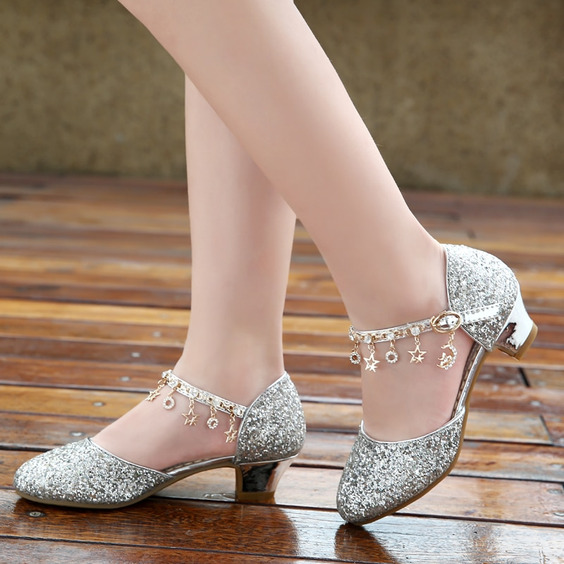 Girl's high heel princess shoes 2020 new 6-10 year old children's 8 little girl's crystal shoes 9 children's performance shoes
