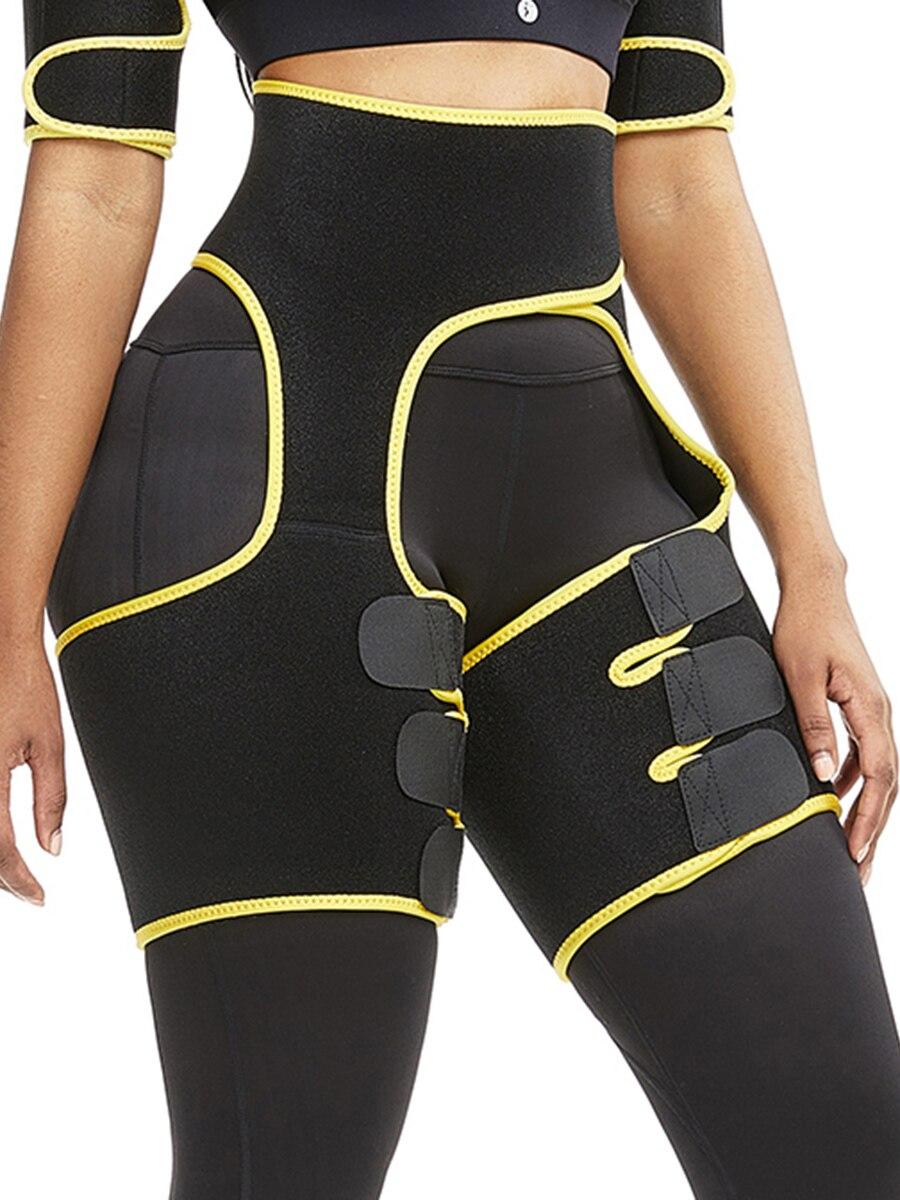 Faja para muslos de neopreno de levantamiento de glúteos amarillo con forma básica a la moda