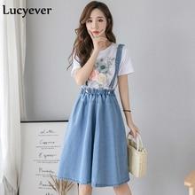Lucyever Women Denim Suspenders Skirt Fashion Summer Elastic High Waist Midi Jean Skirt A-line Female Plus Size Cotton Faldas