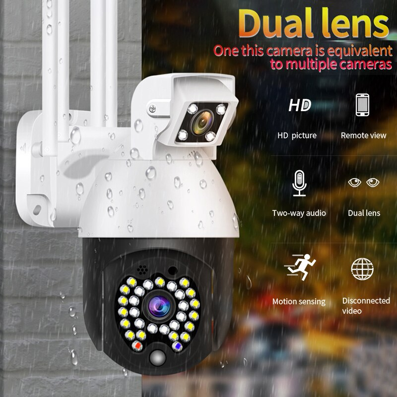 PTZ WIFI IP Camera 1080P Waterproof Outdoor Remote Wireless Camera 29 Leds IR 50m Two Way Audio CCTV Surveillance Cam Dual Lens
