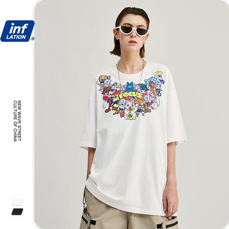 INFLATION hommes t-shirts mode 2020 tendance dessin animé impression hommes drôle t-shirt hommes coton Anime t-shirt en noir blanc couleur 1248S20