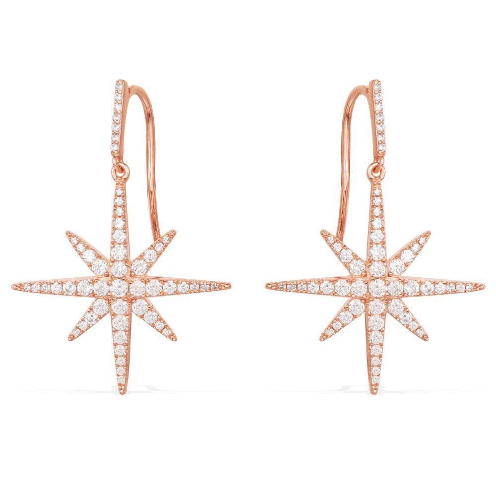 Pendientes de Estrella Octogonal para mujer, Aretes de Calidad, Simples, de Cristal, Borla