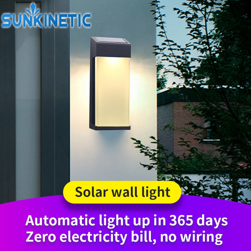 مصباح جداري خارجي LED يعمل بالطاقة الشمسية ، أجواء زجاجية متقدمة ، إضاءة طوارئ ، إضاءة زخرفية ، مثالية للحديقة.