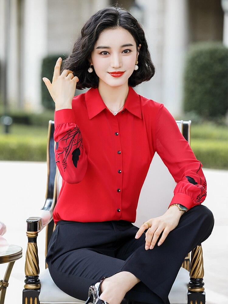 Nuevo 2020 mujeres de primavera otoño blusa elegante camisa completa bordado manga rojo negro blanco mujer señoras Tops S-4XL